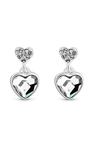 Simply Silver Silver Made With Heart Mini Drop Earrings