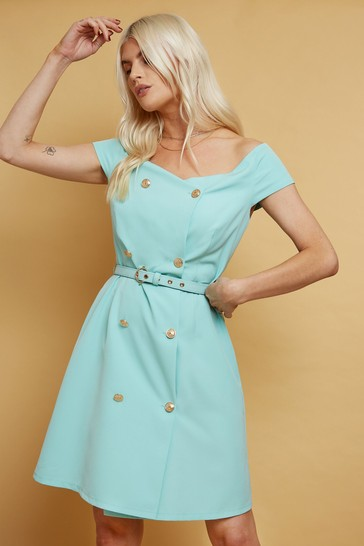 Little Mistress Green Signe Double-Breasted Belted Mini Dress