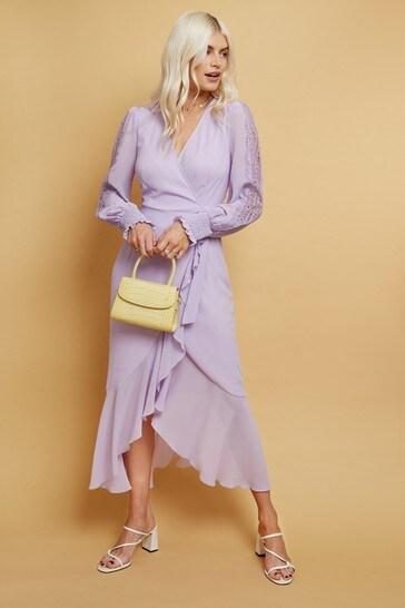 Little Mistress Purple Albin Lace Insert Wrap Midaxi Dress