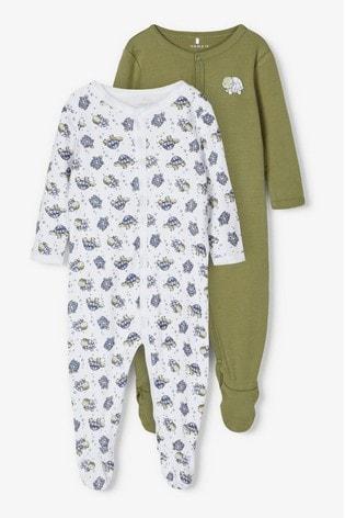 Name It Green Turtle Print 2 Pack Sleepsuit