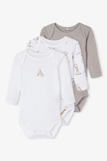 Name It Grey Giraffe Print Long Sleeve Bodysuit 3 Pack