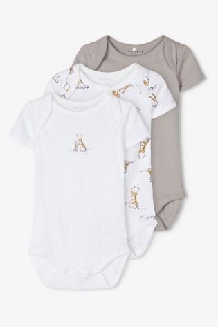Name It Grey Giraffe Print Short Sleeve Bodysuit 3 Pack