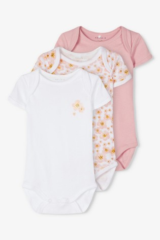 Name It Pink Baby Short Sleeve Bodysuit 3 Pack