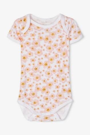 Name It Pink Floral Print Short Sleeve Bodysuit 3 Pack