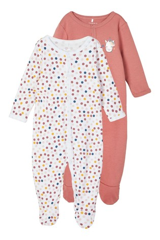 Name It Pink Unicorn and Polka Dot 2 Pack Sleepsuit