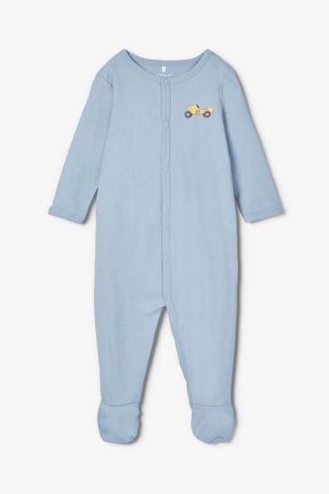 Name It Blue Car Print 2 Pack Sleepsuit