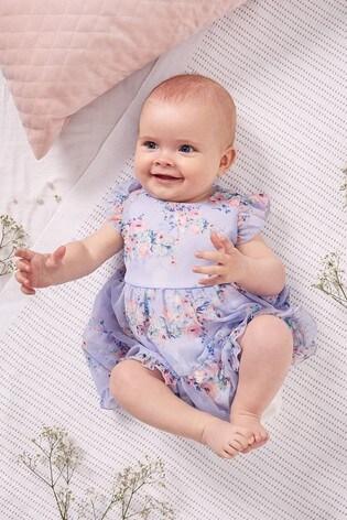 Lipsy Lilac Floral Baby Chiffon Tiered Dress
