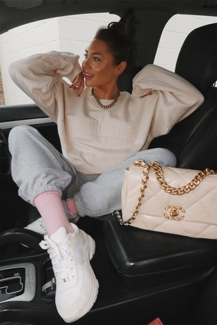 In The Style Cream Lorna Luxe Applique Oversized Fit Sweatshirt