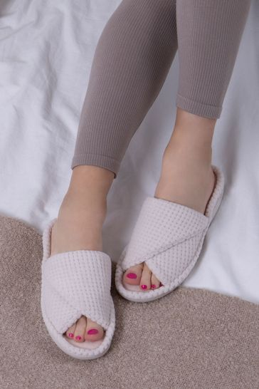 Totes Neutral Popcorn Turnover Open Toe Slippers