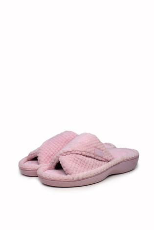 Totes Pink Popcorn Turnover Open Toe Slippers