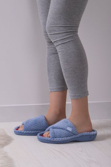 Totes Blue and Grey Popcorn Turnover Open Toe Slippers