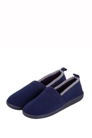 Totes Blue Stripe Full Back Slippers