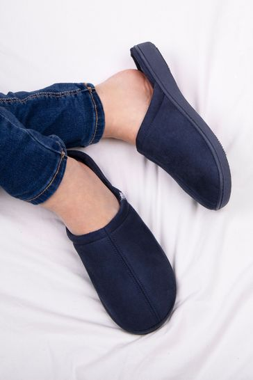 Totes Blue Suedette Mule Slippers