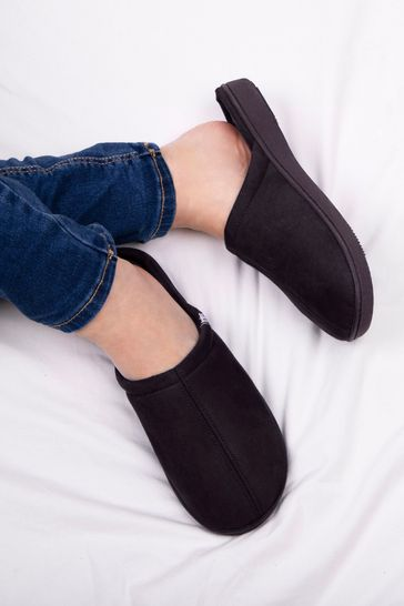 Totes Black Suedette Mule Slippers