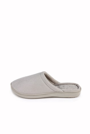 Totes Grey Suedette Mule Slippers