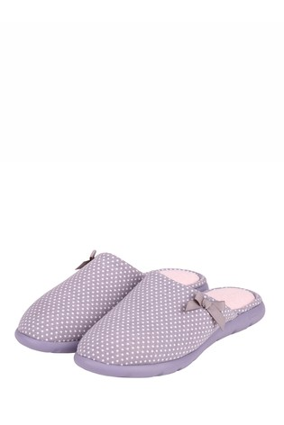 Totes Navy Spot Textured Moccasin Slippers