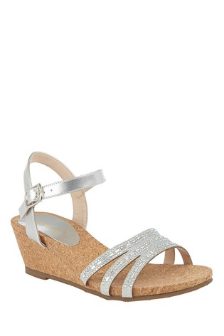 Lotus Footwear Silver Ankle Strap Wedge Sandals