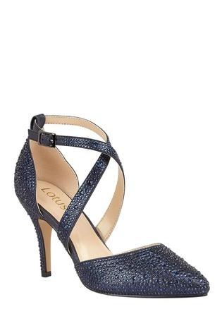 Lotus Footwear Blue Ankle Strap Court Shoes