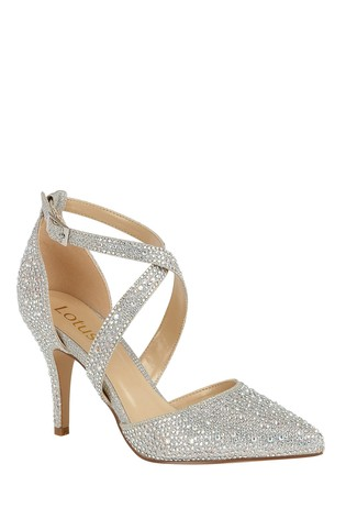 Lotus Footwear Silver Ankle Strap Court Shoes