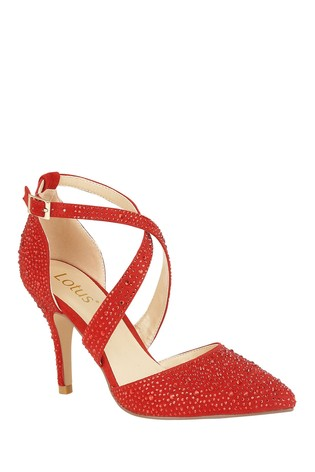 Lotus Footwear Red Ankle Strap Court Shoes