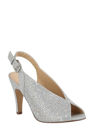 Lotus Footwear Silver SlingBack PeepToe Shoes