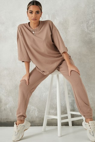 Missguided Neutral Coord Oversized T Shirt And Jogger Set