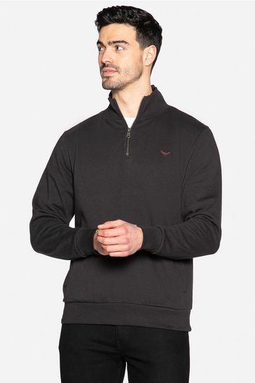 Threadbare Black Patrick Zip Neck Sweatshirt