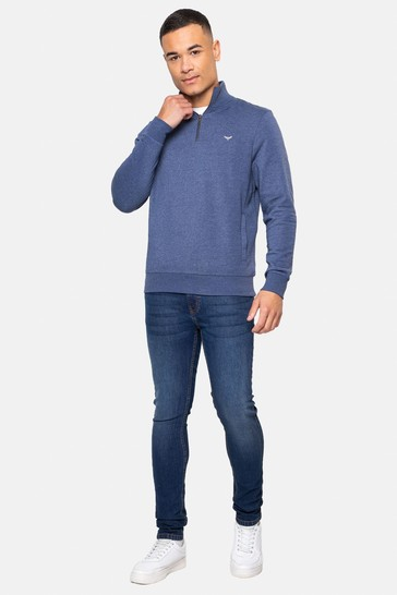 Threadbare Blue Patrick Zip Neck Sweatshirt