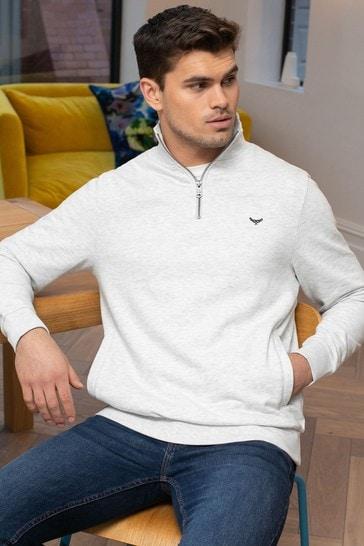Threadbare Cream Patrick Zip Neck Sweatshirt