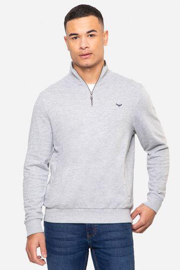 Threadbare Grey Patrick Zip Neck Sweatshirt