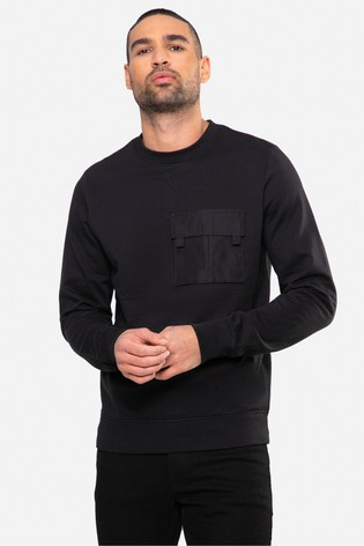 Threadbare black Fin Crew Neck Sweatshirt