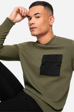 Threadbare khaki Fin Crew Neck Sweatshirt
