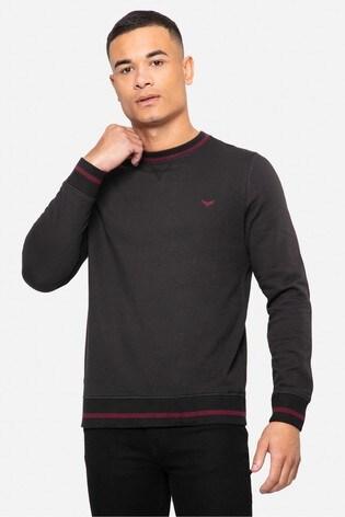 Threadbare Black Sam Crew Neck Sweatshirt