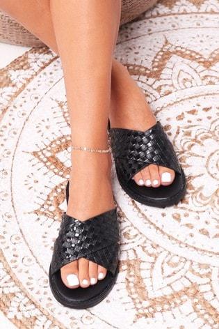 Linzi Black Harlem Slip On Slider With Woven Crossover Front Strap