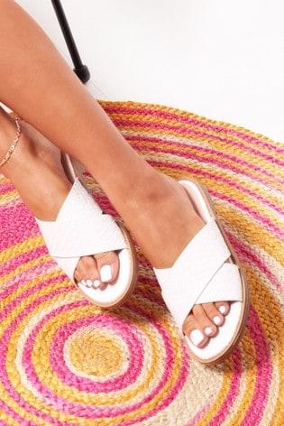 Linzi White Harlem Slip On Slider With Woven Crossover Front Strap
