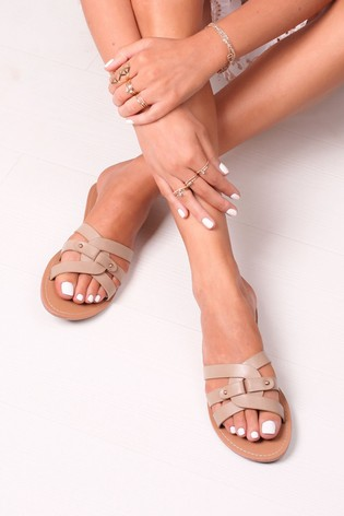 Linzi Nude Oprah Faux Leather Flat Slip On Slider With Link Shaped Front Strap