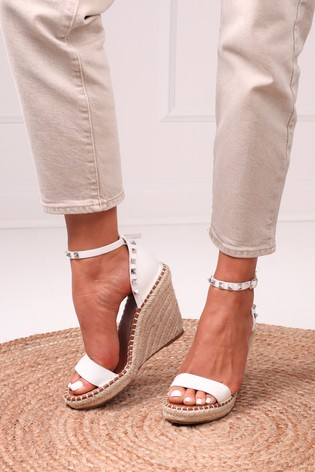 Linzi White Prosecco Espadrille Wedge With Studded Detail