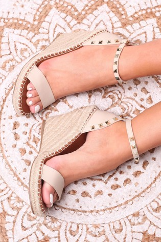 Linzi Nude Prosecco Espadrille Wedge With Studded Detail