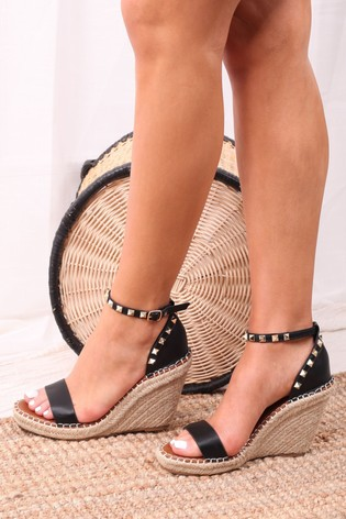 Linzi Black Prosecco Espadrille Wedge With Studded Detail
