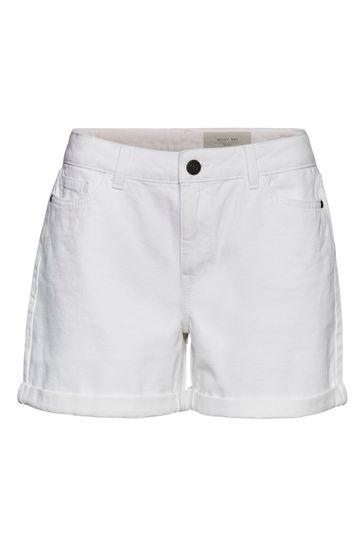 Noisy May Bright White Mom Denim Shorts
