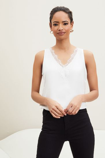 Lipsy White Lace V Neck Vest