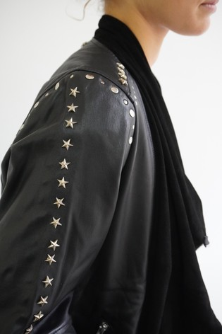 Religion Black Waterfall Leather Jacket With Stud Details