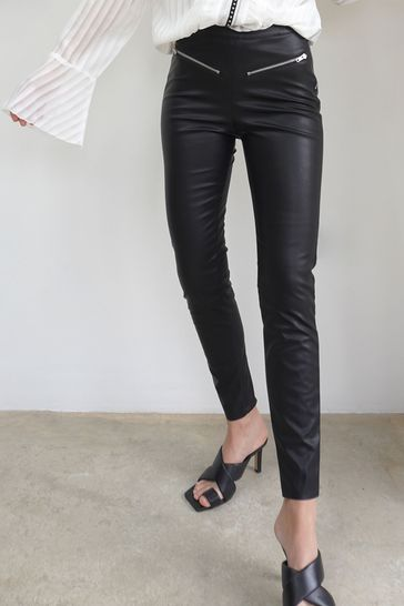 Religion Black Faux Stretch Black Leather Trousers With Zip Details