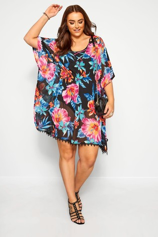 Yours Black Floral Print Cover Up