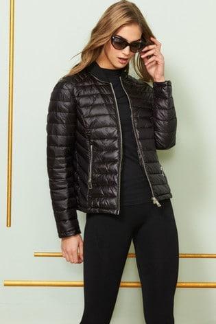 Sosandar Black Lightweight Short Padded Coat With Pockets