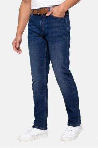 Threadbare Blue Penrith Belted Straight Leg Jeans