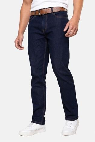 Threadbare Dark Blue Penrith Belted Straight Leg Jeans