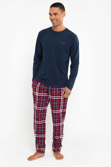 Threadbare NavyRed Check Flint Cotton Pyjama Set