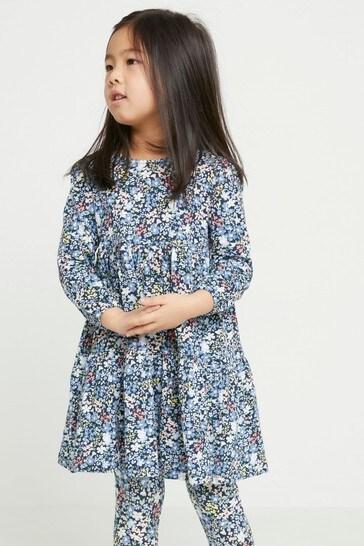 Lindex Blue Long Sleeve Printed Tunic Dress