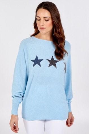 Blue Vanilla Blue Stars Batwing Oversized Jumper